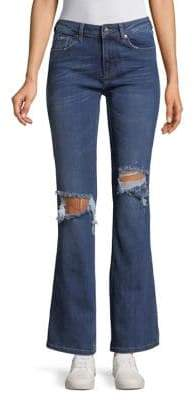 Free People Distressed Wide-Leg Jeans