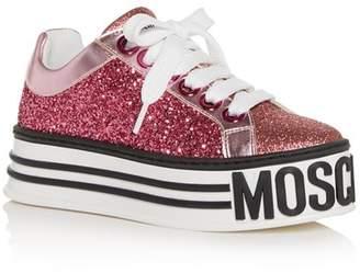 3a6e4540ff1 Moschino Women s Glitter Low-Top Platform Sneakers