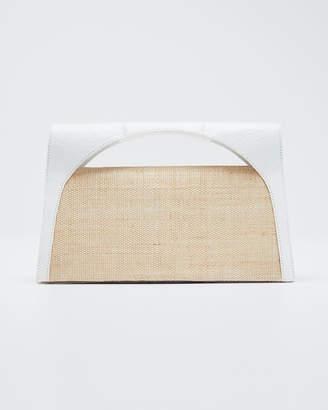 Nancy Gonzalez Sammy Small Keyhole Crocodile/Linen Clutch Bag