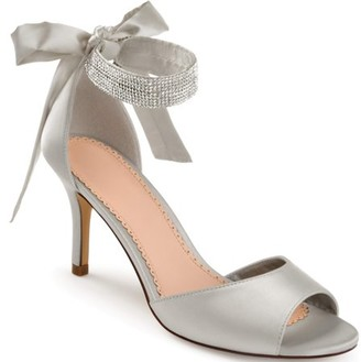 Brinley Co. Women's Satin Rhinestone Ankle Strap Open-toe High Heels