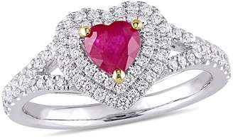 Concerto 14K White Gold, Yellow Gold, Ruby And 0.4 CT. T.W. Diamond Double Halo Heart Ring