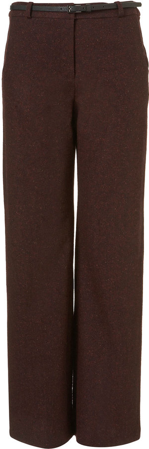 Belted Tweed Wide Leg Trousers
