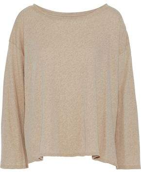 Enza Costa Fluted Mélange Cotton And Cashmere-Blend Top