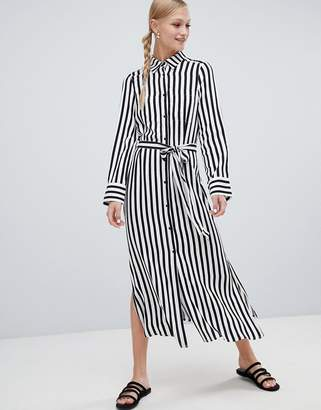 Monki midi shirt dress in black and white stripe