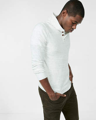 Express Shawl Collar Marled Henley Sweater