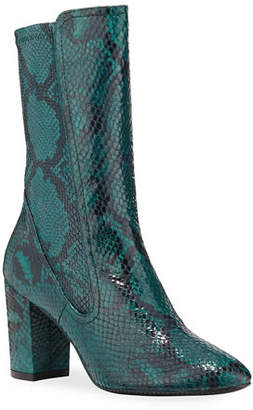 Stuart Weitzman Fifer Python-Embossed Stretch Booties