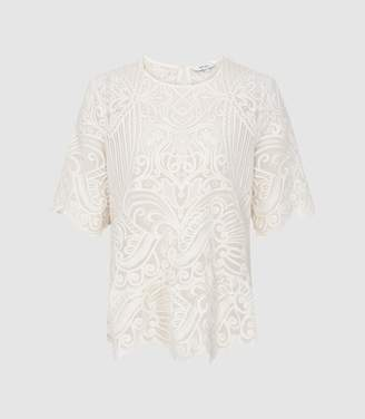 Reiss Melania - Lace Top in Ivory