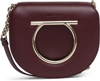 Salvatore Ferragamo Margot Gancino Vela burgundy leather bag