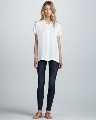 Stretch-Silk Short-Sleeve Blouse