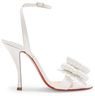 Christian Louboutin Miss Valois 85 Patent Leather Sandals - Womens - White