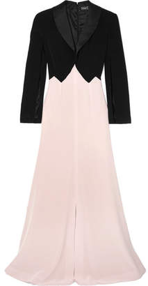 Alexis Mabille Two-tone Satin-trimmed Crepe Gown - Pink