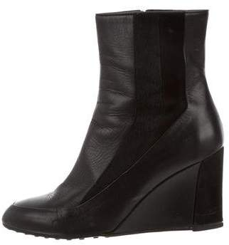 Tod's Leather Wedge Boots