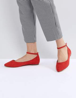 Faith Allie Red Pointed Flat Shoes