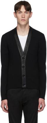 Saint Laurent Black Cashmere Leather Cardigan