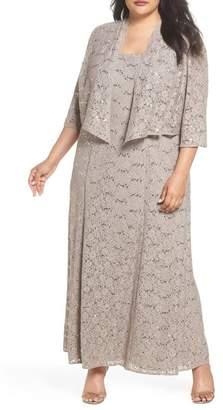 Alex Evenings Sequin Lace Gown with Jacket (Plus Size)