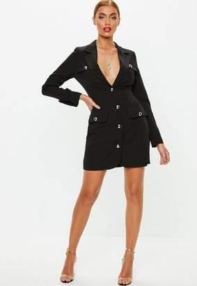 Missguided Black Military Silver Button Blazer Dress, Black