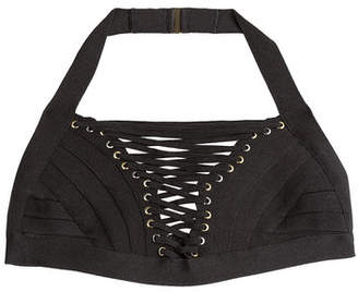 Herve Leger Bandage Bikini Top with Lace-Up Front