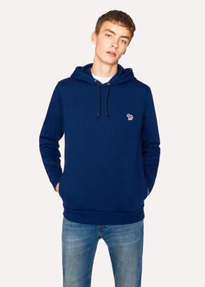 Paul Smith Men's Blue Organic-Cotton Zebra Logo Hoodie