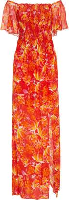 Isolda Angelim Silk Off-The-Shoulder Dress