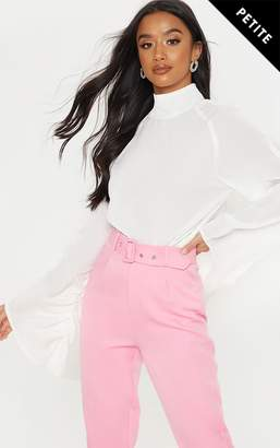 PrettyLittleThing Petite White High Neck Ruched Sleeve Blouse