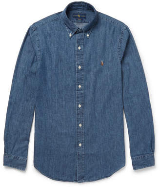 Polo Ralph Lauren Slim-fit Button-down Collar Washed-denim Shirt - Mid denim