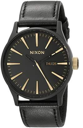 Nixon Sentry Leather A1051041-00. Matte Black and Gold Men's Watch (42mm Matte Black/Gold Watch Face. 23mm Black Leather Band)