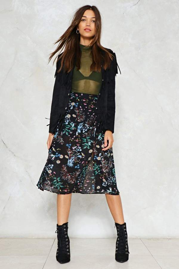 nastygal Let's Split Up Floral Midi Skirt