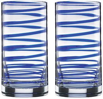 Kate Spade Set of 2 Charlotte Street Highball Glasses - Clear/Blue