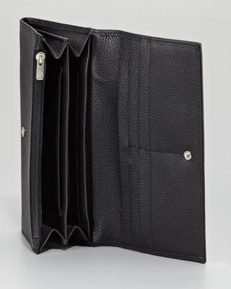 Longchamp Veau Foulonne Leather Flap Wallet