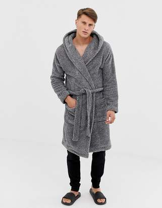 Asos Design DESIGN hooded dressing gown in fluffy grey 11624fdb9