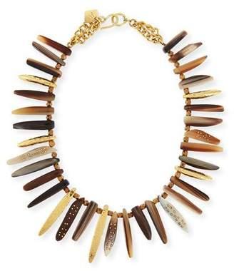 Ashley Pittman Nyasi Horn Collar Necklace, Brone