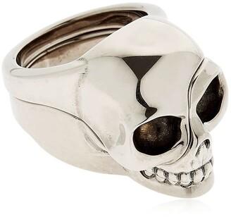 Alexander McQueen Divided Skull Silver Plated Brass Ring