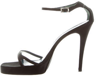 Vera Wang Satin Ankle Strap Sandals $85 thestylecure.com