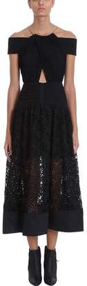 Self-Portrait Self Portrait Black Halter Chain Gown Dress