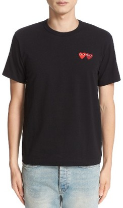 Men's Comme Des Garcons Play Twin Hearts Jersey T-Shirt $98 thestylecure.com