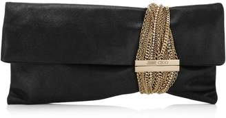 Jimmy Choo CHANDRA Black Shimmer Suede Clutch Bag