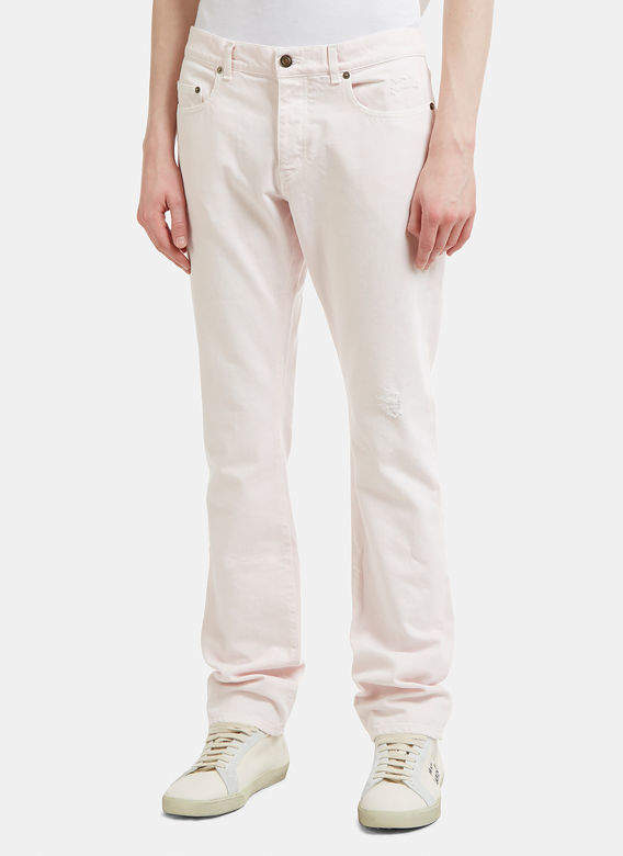 Slim Embroidered Logo Jeans in Pink