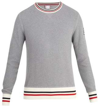 Moncler Gamme Bleu Striped Cotton Sweater - Mens - Grey