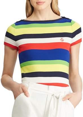 Ralph Lauren Striped Button-Shoulder Tee