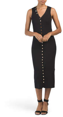 Ribbed Knit Midi Dress With Buttons