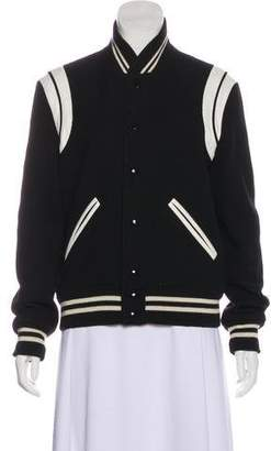 Saint Laurent Wool-Blend Varsity Jacket