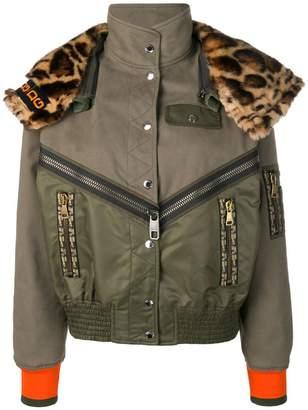 Dolce & Gabbana leopard print panelled bomber jacket