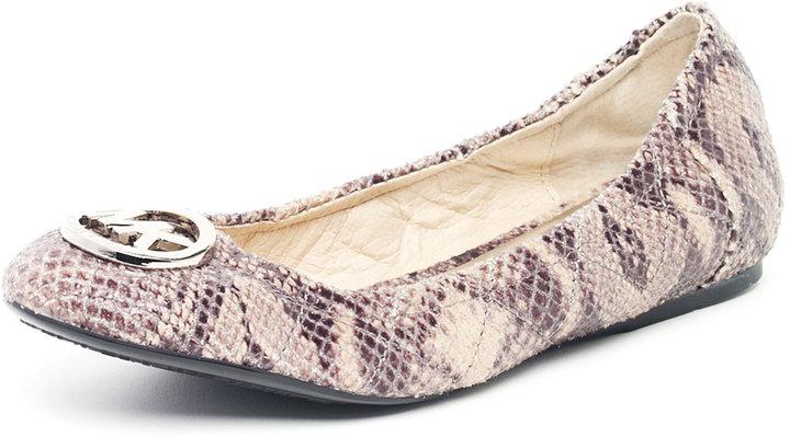 MICHAEL Michael Kors Michael Kors Fulton Quilted Python-Embossed Ballet Flat