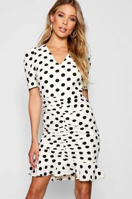 boohoo Polka Dot Ruched Front Woven Tea Dress