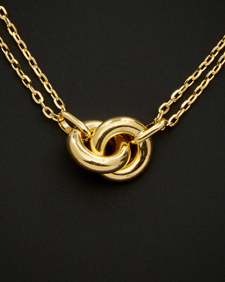 18K Italian Gold Double Strand Infinity Rings Necklace