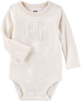 """Osh Kosh Oshkosh Bgosh Baby Girl Hello World"""" Striped Bodysuit"""