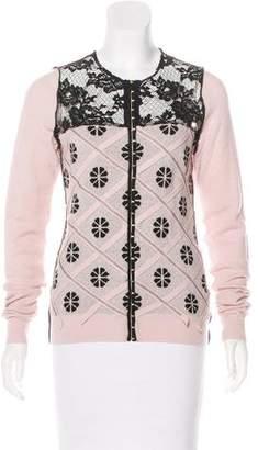 Nina Ricci Lace-Accented Wool Cardigan