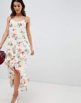 ac9c83d979190 Vila Floral Printed Wrap Midi Dress