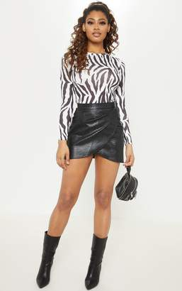 PrettyLittleThing Tall Black Snake Effect Faux Leather Wrap Skirt