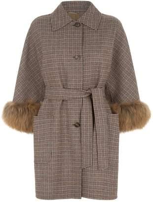 Max Mara Houndstooth Fur Trim Coat